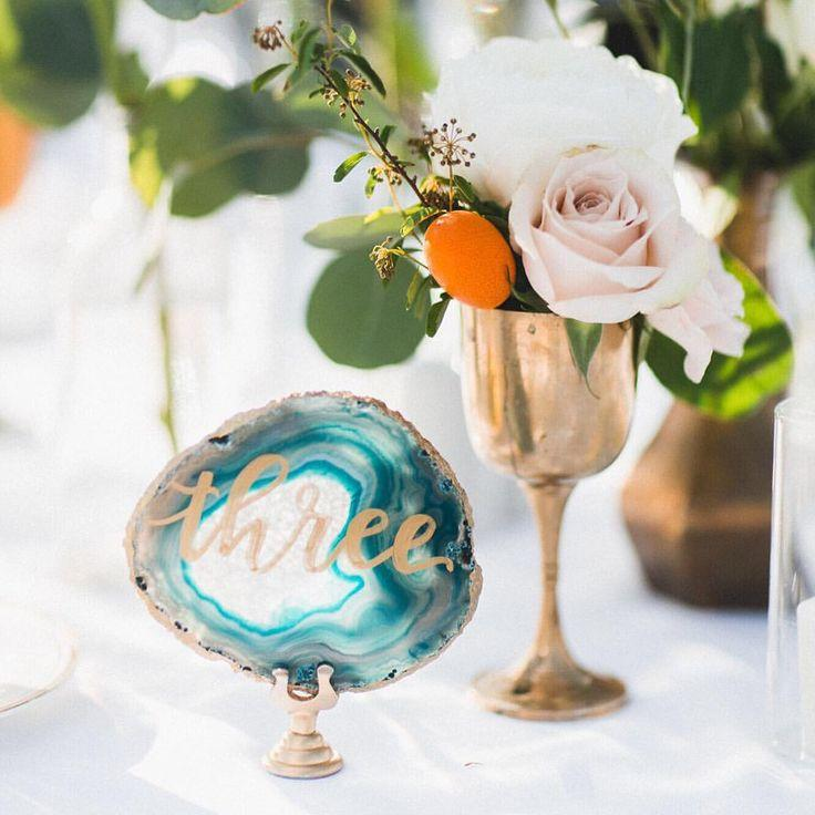 """زفاف - Sugar   Chic Shop On Instagram: """"Agate Table Numbers. My Fave Things. Like Ever.  Event By @wink_weddings, Photo By @rachelcast @ricocast, Florals By @theboskydell"""""""