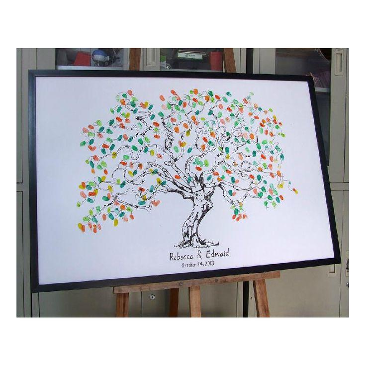 Mariage - 40x60CM   Fingerprint Wedding Tree Wedding Guest Book Tree Unique Signature Guestbook Alternative Vintage Wedding Decorations-in Event & Party Supplies From Home & Garden On Aliexpress.com