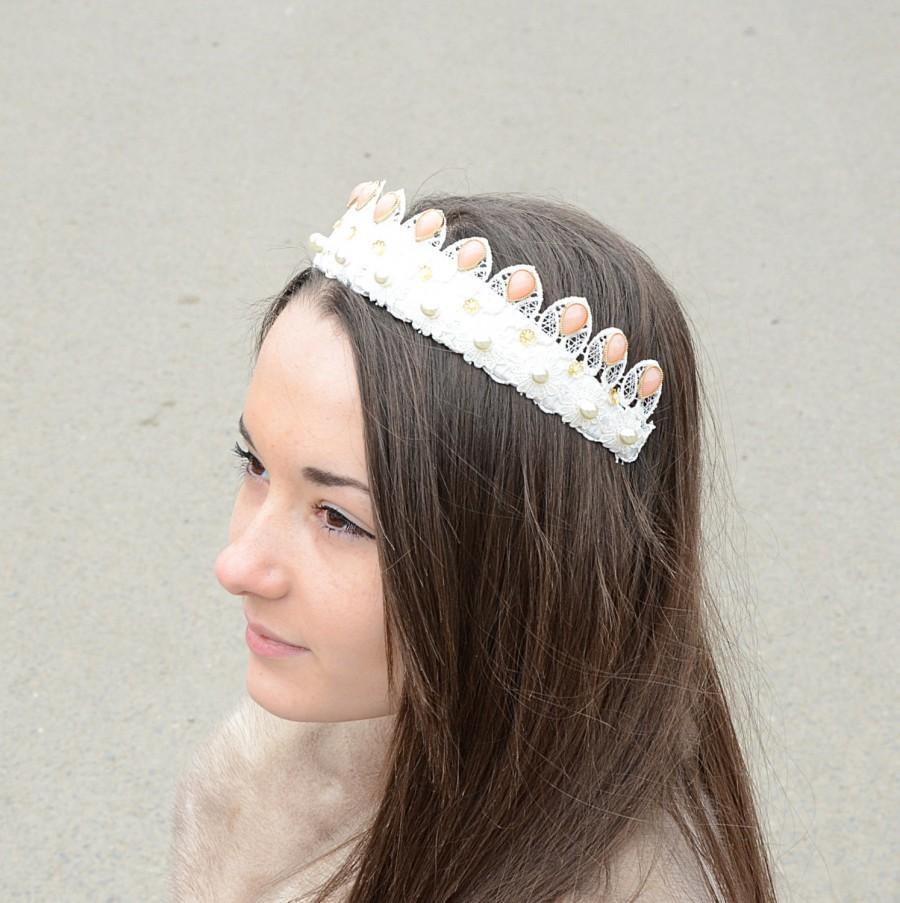 Mariage - Baroque style Bridal Crown , Bridal Lace Tiara,  bridal hair accessories, wedding crystal headband,  wedding hair