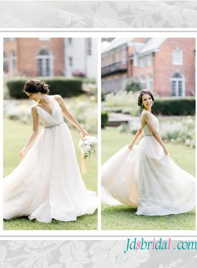 H1571 Cheap Simple Flowy Chiffon Destination Wedding Dress