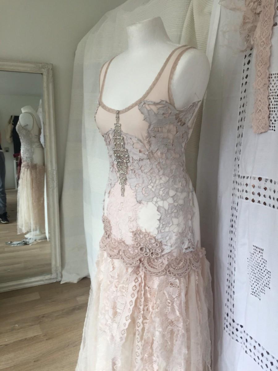Alternative Wedding Dress Made In Denmark Boho Unique Dressrepurposed Antique Lacerawrags Statement