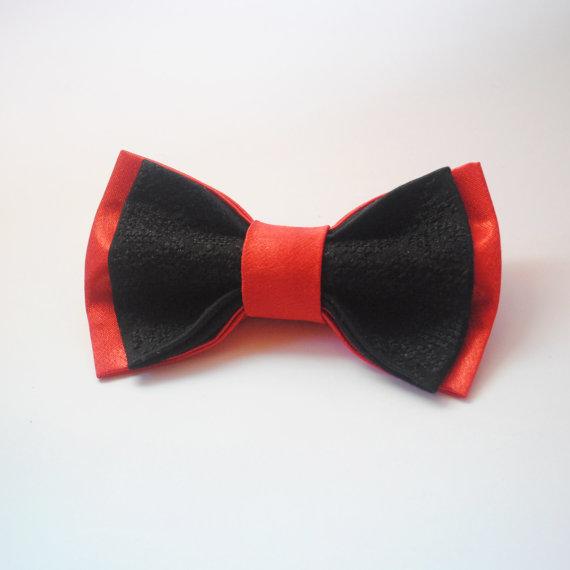 Wedding - Red&black satin bow tie Hand embroidered bowtie Wedding bowties Classic red and black bowtie Nœud papillon noir et rouge Satin Groom'ss ties