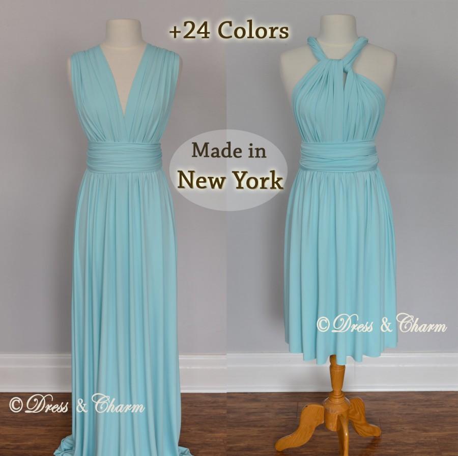 Aqua Bridesmaid Dress, Infinity Dress, Convertible Dress, Prom Dress ...