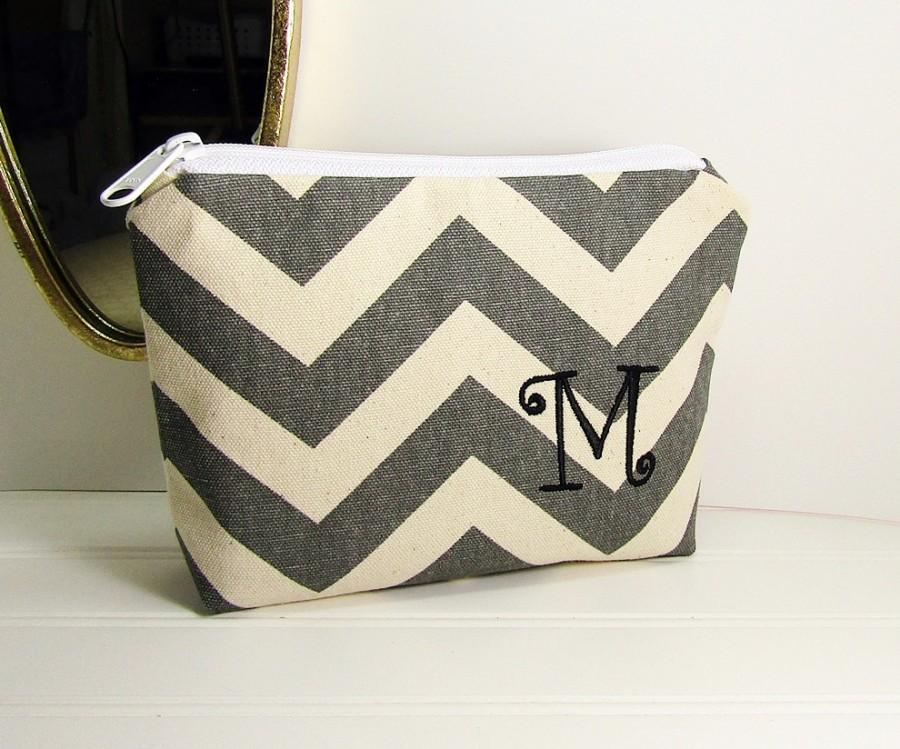 Personalized Makeup Bag Chevron Zigzag Stripes With Initial Bridesmaid Gift Small Monogramed