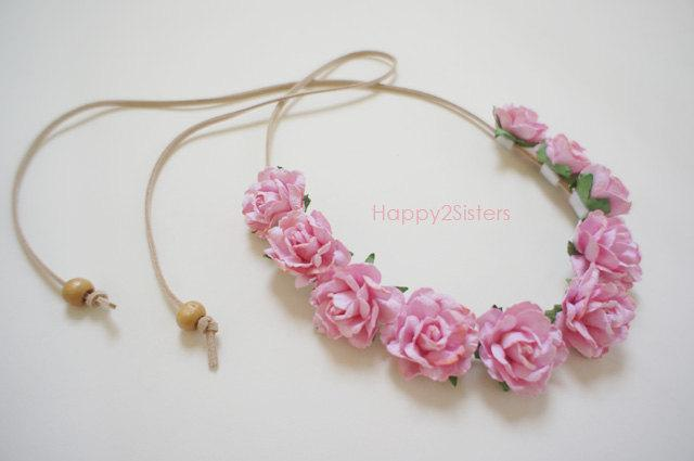 Wedding - Flowers crown headband, Floral crown, Boho halo headband, Woodland Boho Headpiece, Ivory flower headband, Flower girl headband