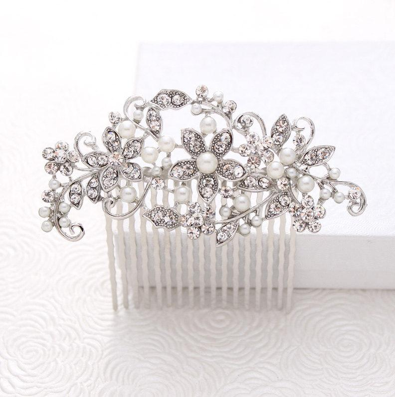 Bridal Comb - Rhinestone Pearl Hair Pin - Bride Hair Accessories ...