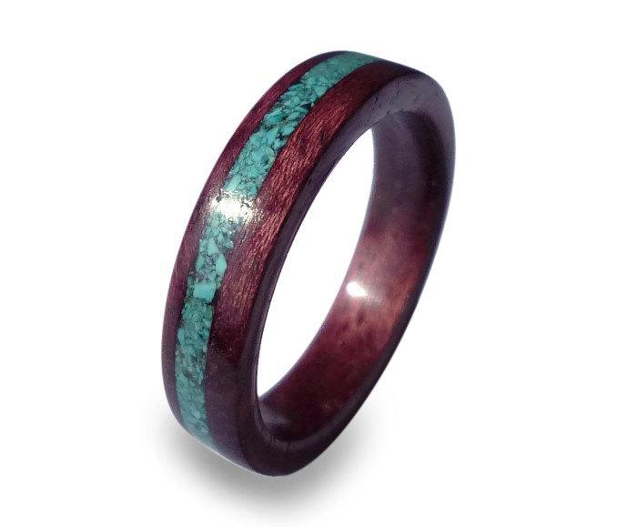 زفاف - Purple Heart Ring, Women's Amaranth Wood Ring with Turquoise Inlay