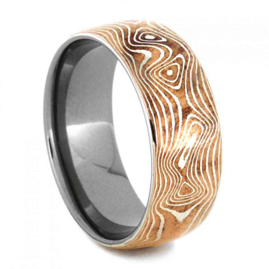 Copper And Silver Mokume Gane Ring With Titanium Mens Wedding Band