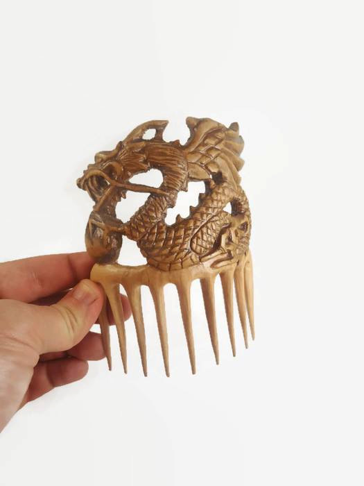 Mariage - Oriental updo Hair comb Dragon wooden hair stick pin Gift Present for her Wife Moms Girlfriend Sister Womens wedding Birthday gift ideas