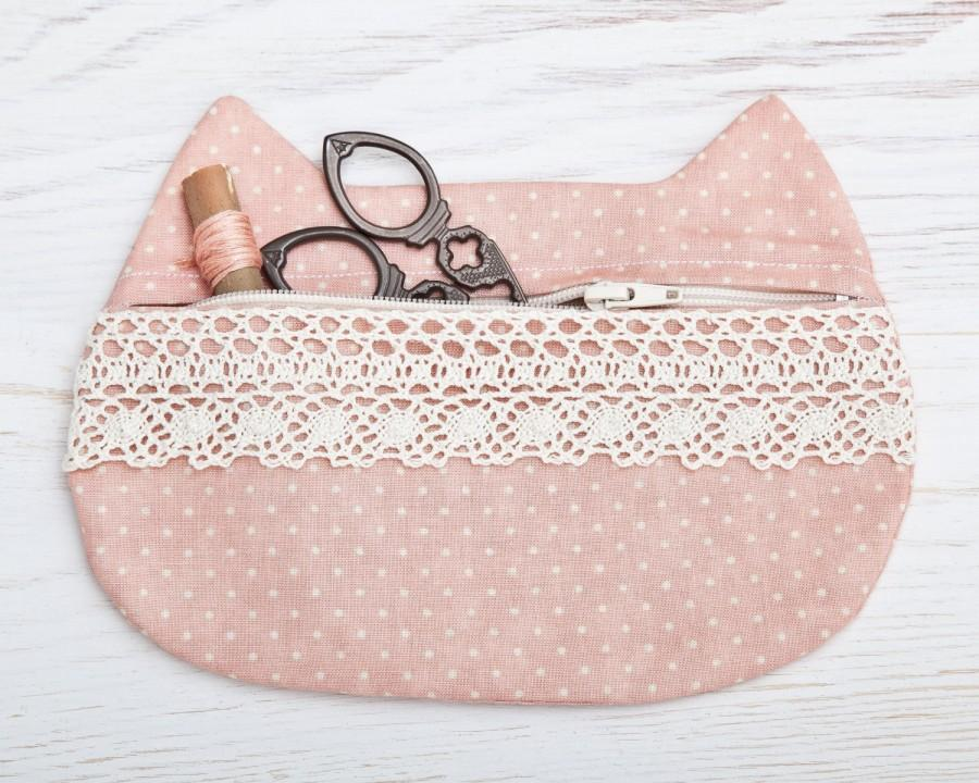 Cat Makeup Bag With Lace Pink Cosmetic Cute Pencil Case Pouch Polka Dots Travel Bridesmaid Gift
