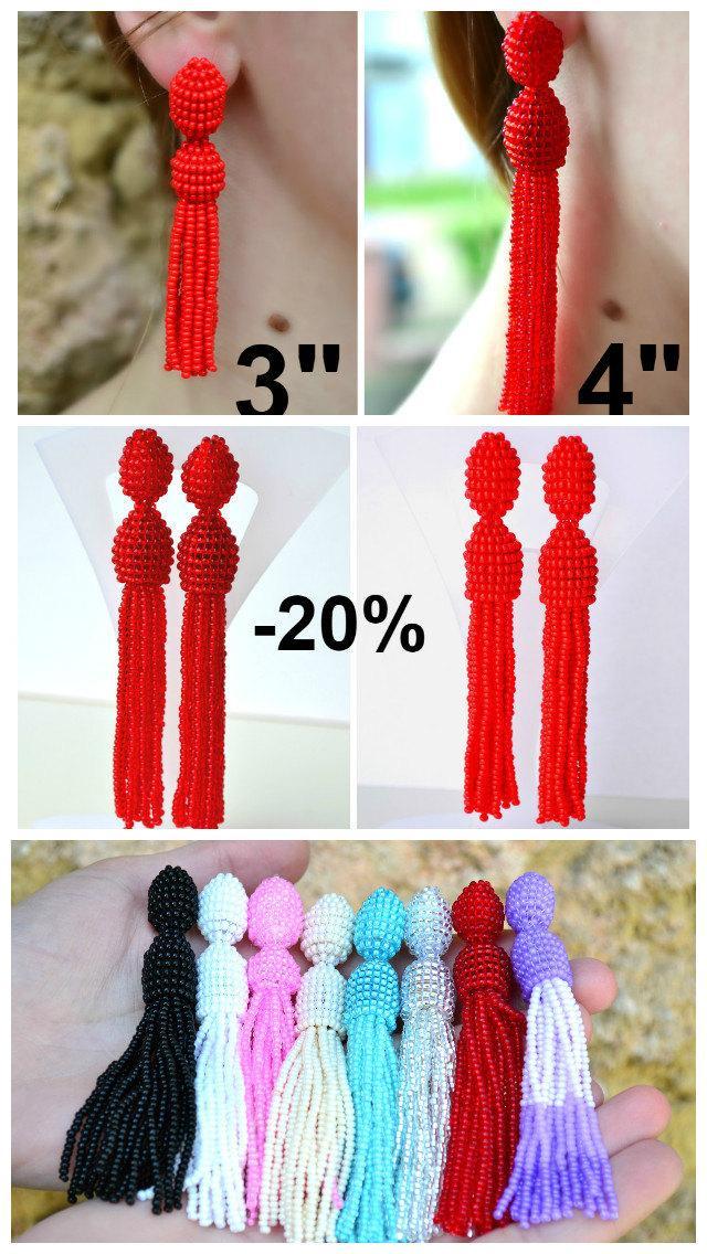 Wedding - 20% OFF Long tassel red seed beaded earrings, Oscar de la Renta style earrings, stylish trending earrings, red earrings jewelry