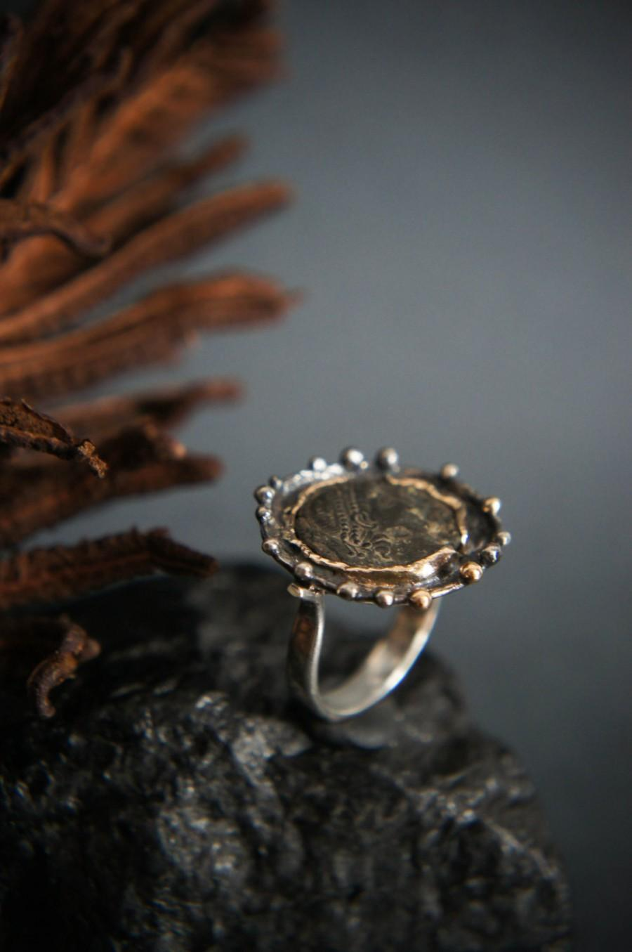 c0fe4f1f5bd64 Roman Coin Ring, Ancient Coin Ring, Sterling Silver And Gold Ring ...