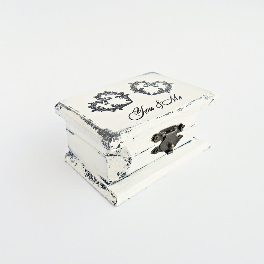 Wedding - FREE SHIPPING, Wedding antique white ring bearer box / pillow, Wooden ring box, Pillow alternative, Wedding keepsake box,Memory box,Card box