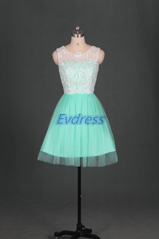 Mariage - Latest mint tulle ivory lace bridesmaid gowns,simple short bridesmaid dresses hot,cheap cute women dress for prom party.
