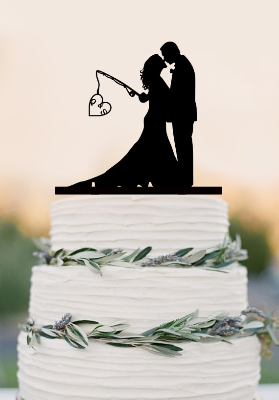 Mariage - Custom wedding cake topper,Hooked on Love, personalized topper,fishing cake topper with initials