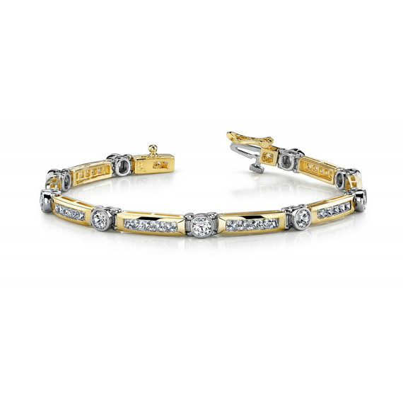 3 Carat Diamond Men S Bracelet 14k Two Tone Gold