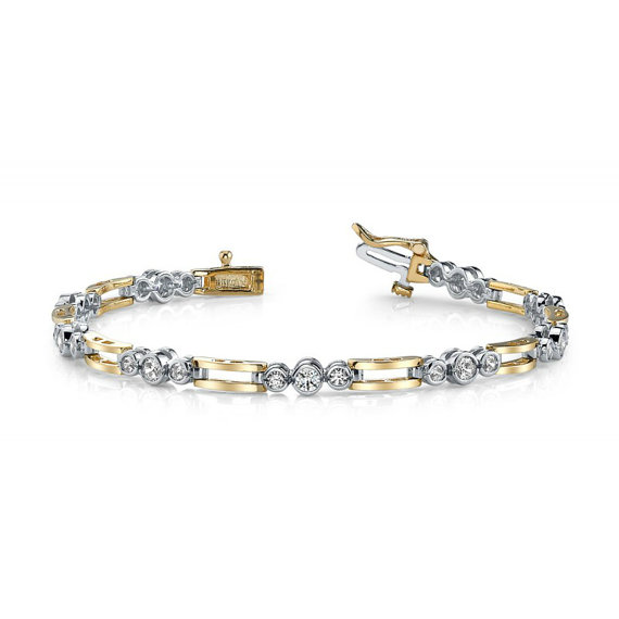 Men S Diamond Bracelet 14k Two Tone Gold Bracelets For Uni Or Women Him Her Designs Bezel