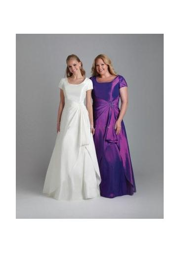 Wedding - Ruched Satin Short Sleeves Square White Purple Floor Length
