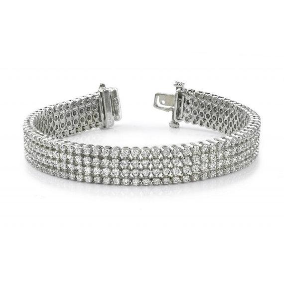 زفاف - 7 Carat F/SI1 Diamond Four Row Tennis Bracelet 14k, 18k or Platinum - Bracelets for Women - Cyber Monday - Christmas Gift Ideas for Her