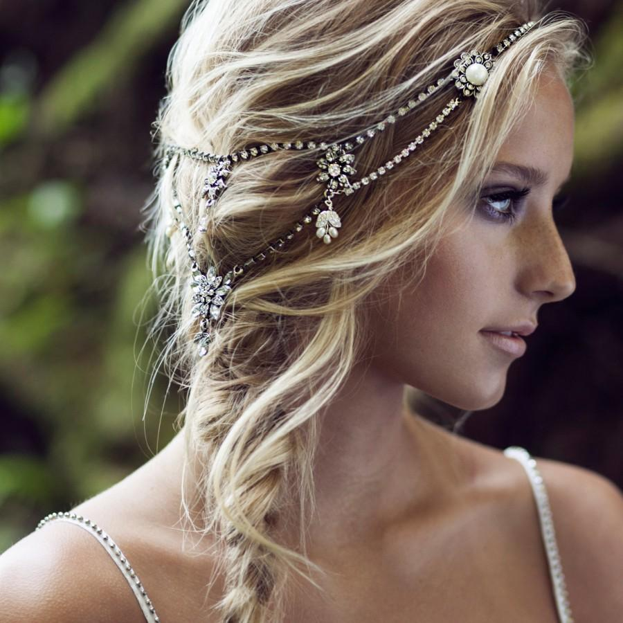 Mariage - Antique silver crystal and pearl halo.  // style: WINTER CRYSTAL bridal halo, bohemian bridal headpiece