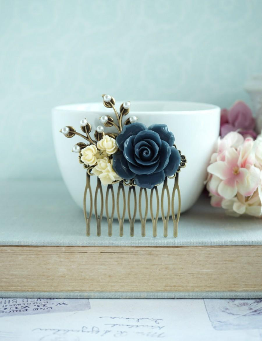 Mariage - Wedding Comb Navy Blue Pearl Leaf Comb Beige Cream Unique Flower Comb Vintage Rustic Blue Ivory Wedding Something Blue Comb Bridesmaids Gift