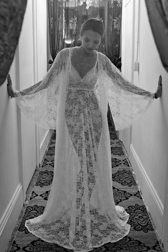 Wedding - Sheer Lace Bridal Robe Bridal Lingerie Wedding Lingerie Wedding Robe Sleepwear Lace Robe