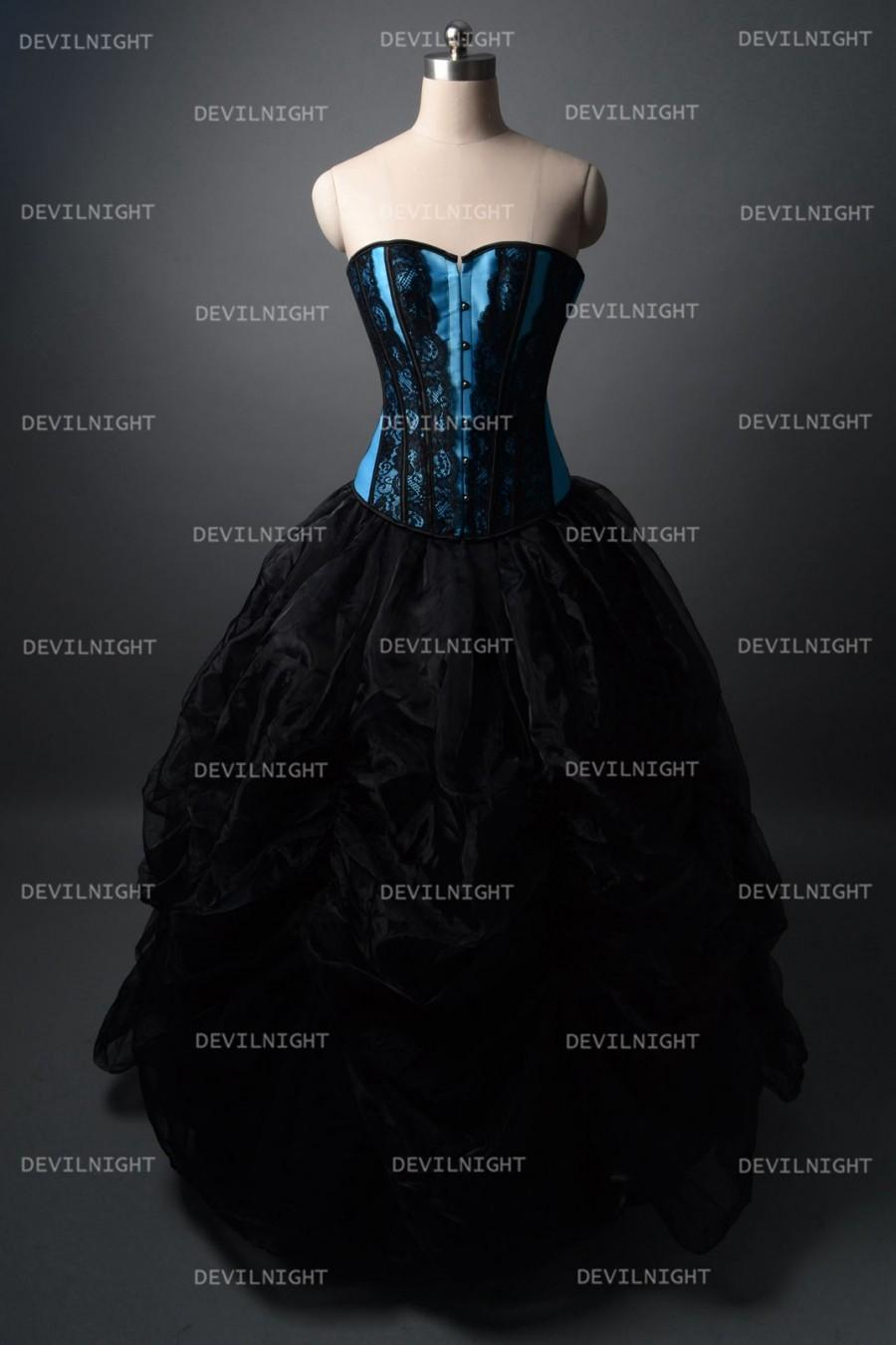 Wedding - Fashion Black and Blue Gothic Corset Burlesque Long Prom Party Dress
