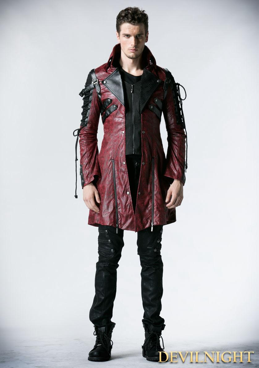 Wedding - Red and Black Long Sleeves Leather Gothic Trench Coat for Men