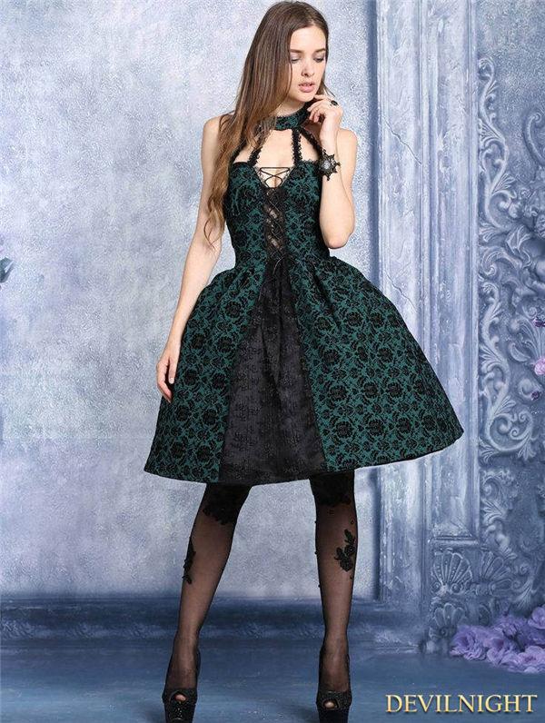 Wedding - Black and Green Gothic Dress with Around Neck Design