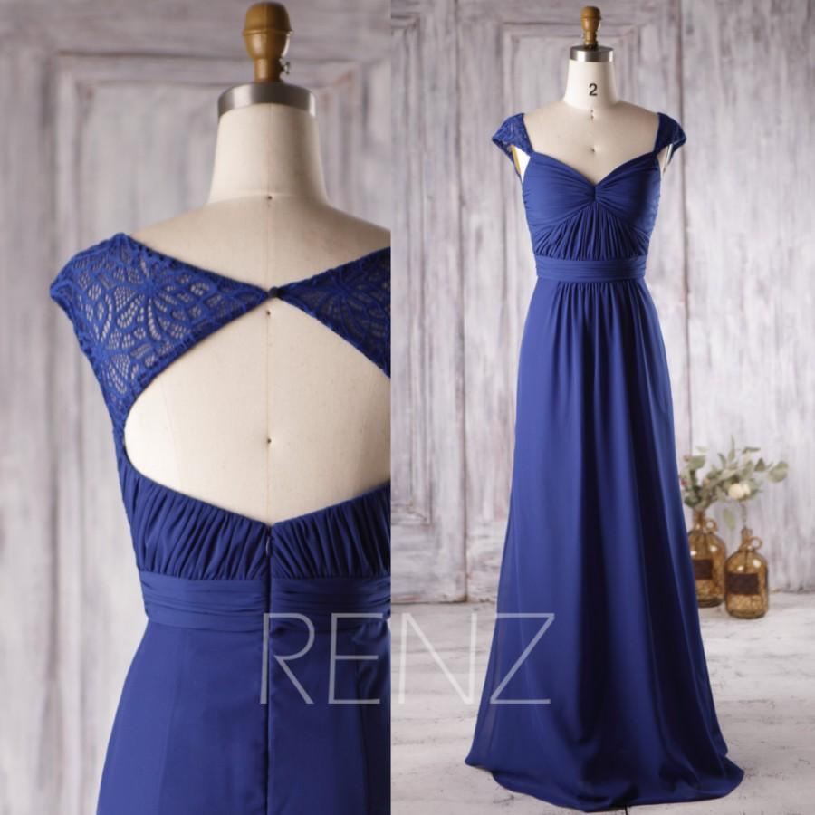 زفاف - 2016 Royal Blue Bridesmaid Dress, Lace Cap Sleeves Wedding Dress, Sweetheart Prom Dress, Long Open Back Formal Dress Floor Length (H181)
