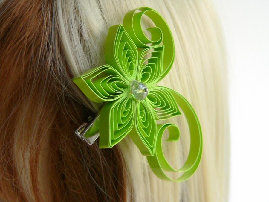 Mariage - Lime Green Wedding Hair Clip, Lime Wedding Hair Accessory