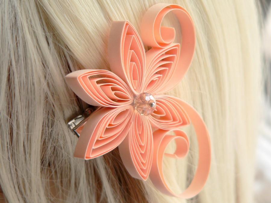 Mariage - Peach Wedding Hair Clip, Apricot Wedding Hair Accessory, Bisque,