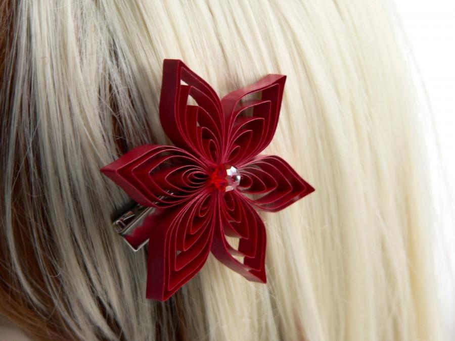 Mariage - Red Hair Clip, Red Flower Hair Accessory, Red Hair Accessory, Apple Wedding
