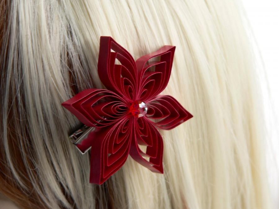 Wedding - Red Hair Clip, Red Flower Hair Accessory, Red Hair Accessory, Apple Wedding