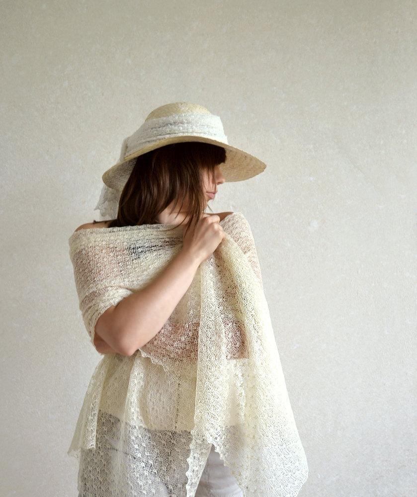 Mariage - Ivory Linen Scarf Ivory Wedding Scarf  Bridal Shawl Linen Wrap Lace Stole Light And Sheer Knitted Linen Scarf Lacey Wings