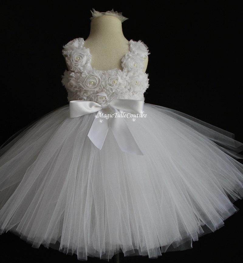 Shabby chic rustic white flower girl tutu dress junior for Wedding dresses shabby chic