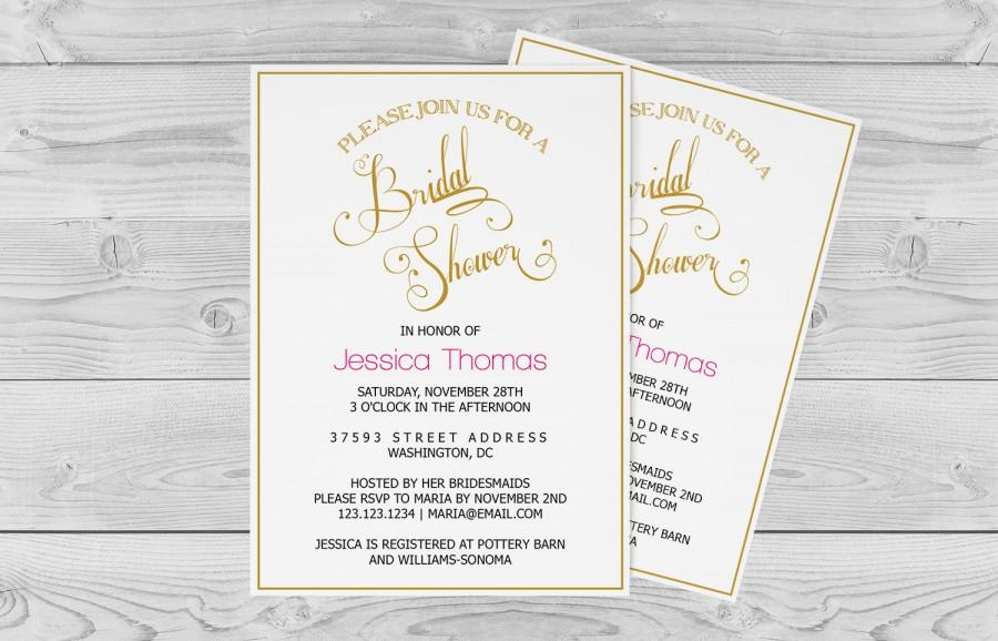Bridal Shower Invitation Template - Golden Calligraphy Wedding Bridal Shower - 5x7 Editable PDF Template- Instant Download - DIY You Print