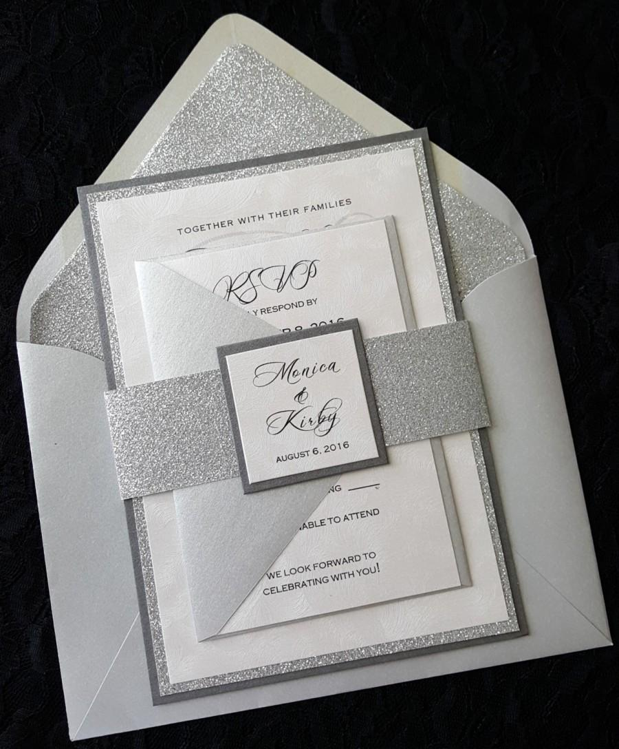 glitter wedding invitation silver glitter wedding invitation elegant wedding invitation silver wedding invitation wedding invitation - Wedding Invitations Elegant