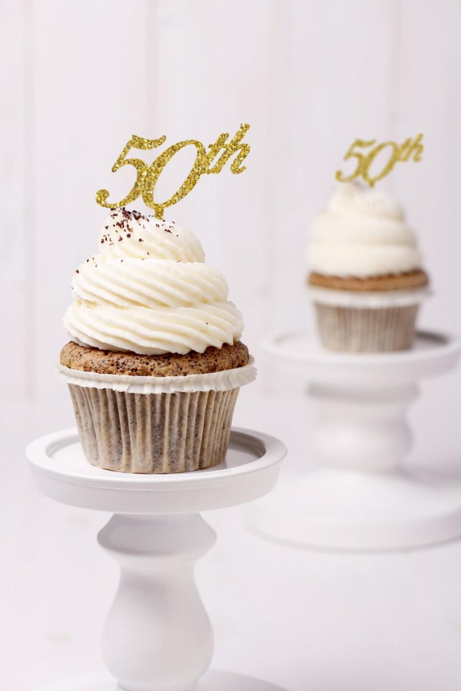 Mariage - Gold Glitter 50th Anniversary Cupcake Topper- (S084)