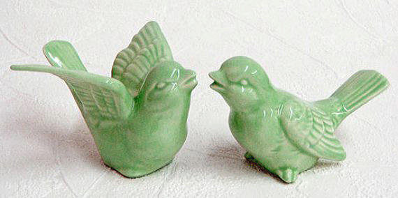Hochzeit - Ceramic Love Birds Retro Wedding Cake Toppers Keepsake Figurines in Mint Green - Made to Order