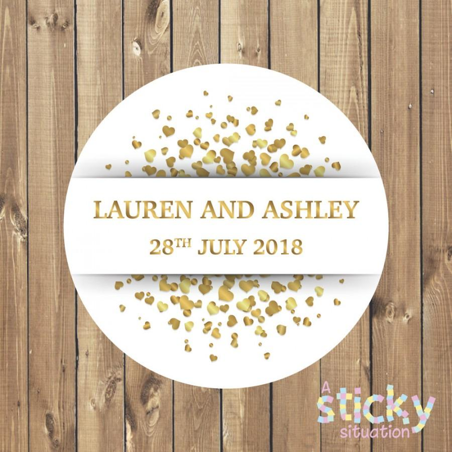 personalized wedding stickers white and gold hearts