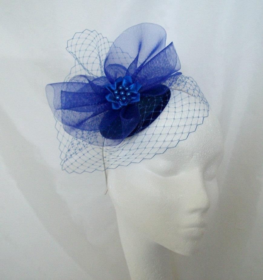 Mariage - Sapphire Royal Cobalt Blue Blusher Veil Wedding Fascinator Mini Hat - 'Custom Made To Order'