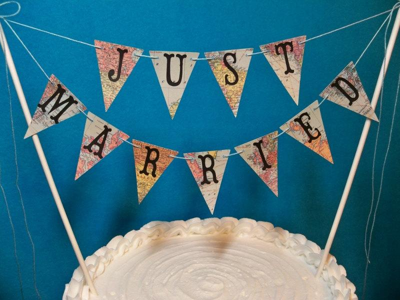 Mariage - Wedding Cake Topper Banner, Just Married Map Bunting, Destination Wedding Garland, Travel