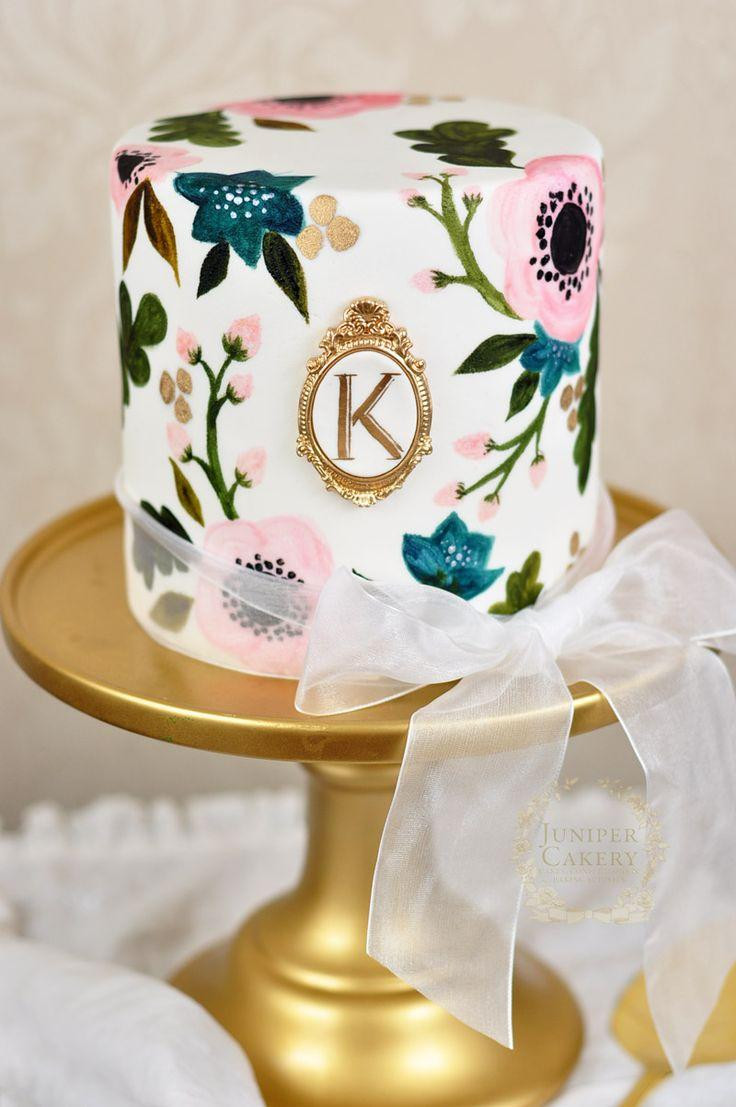 Wedding - Hand-Painted Rifle Paper Co. Inspired Wedding Cake!