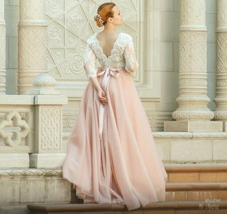 Pink Wedding Dress, Tulle Wedding Dress, Long Sleeves