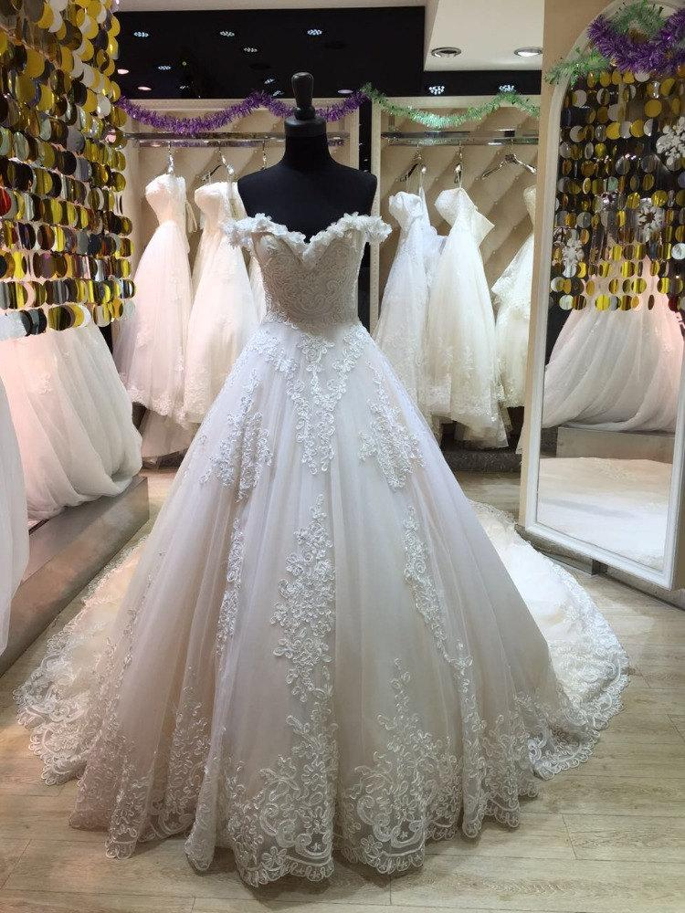 Ball Gown Wedding Dresses With Train : Train ball gown cinderella princess cut bridal royal wedding dress