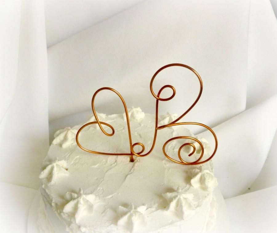زفاف - Rustic Copper Letter Cake Topper