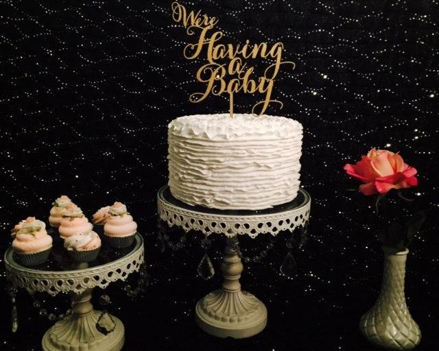 زفاف - We're Having a Baby Cake Topper, Baby Announcement Cake Topper, Baby Shower Cake Topper