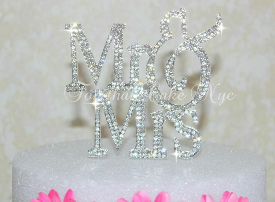 زفاف - Large Silouhette Silver OR GOLD Mr and Mrs wedding cake topper covered in crystal rhinestones wedding decoration