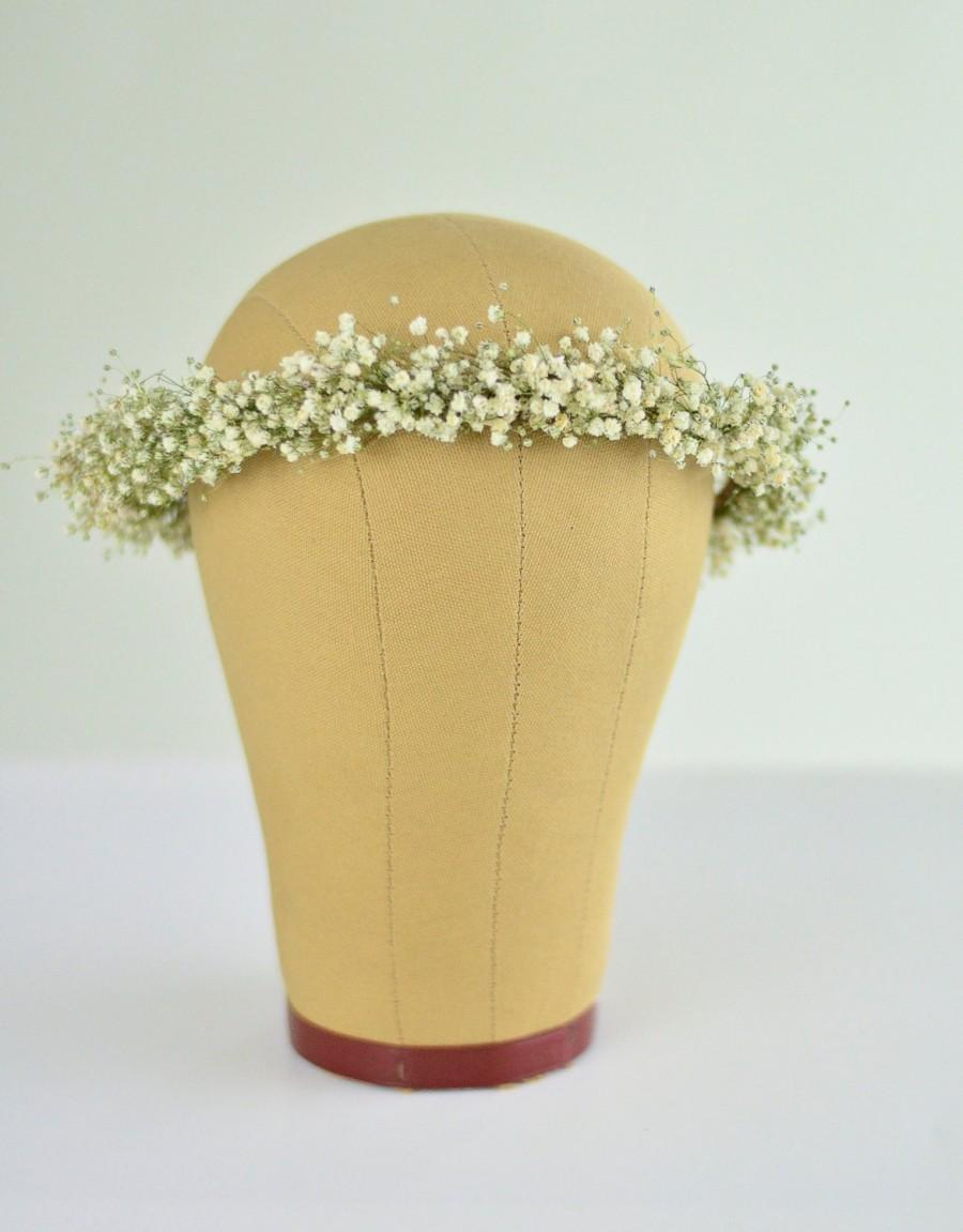 Mariage - Babys Breath Crown / Halo / Hair Wreath Natural Dried Gypsophila Flowers For Bride / Blessingway / Engagement Photos